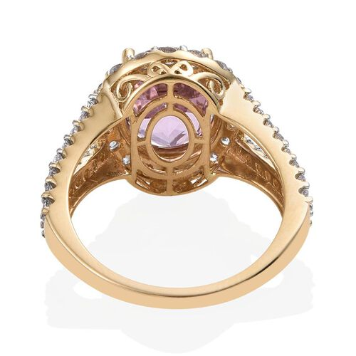 ILIANA 18K Y Gold AAAA Kunzite (Ovl 5.50 Ct), Diamond (SI/G-H) Ring 6.750 Ct.
