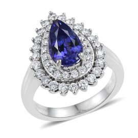 RHAPSODY 950 Platinum AAAA Tanzanite Pear 2.55 Carat, Diamond (VS E-F) Engagement Ring 3.50 Ct.
