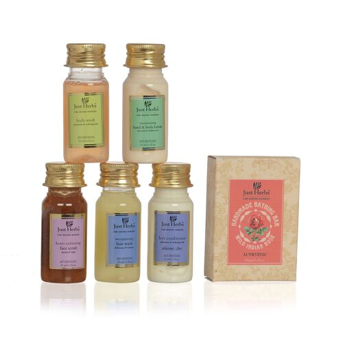 EXCLUSIVE TO TJC - Just Herbs Honey Exfloiating Face Scrub (35 ml), Body Wash (35 ml), Hand and Body Lotion (35 ml), Hair Conditioner (35 ml), Hair Wash, Soap (100 Gm)