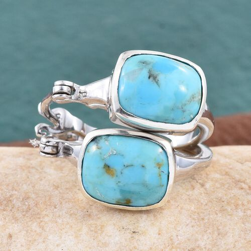 Arizona Matrix Turquoise (Cush) Hoop Earrings in Platinum Overlay Sterling Silver 4.500 Ct.