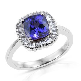 RHAPSODY 950 Platinum AAAA Tanzanite (Cush 2.00 Ct), Diamond (VS/E-F) Ring 2.250 Ct.