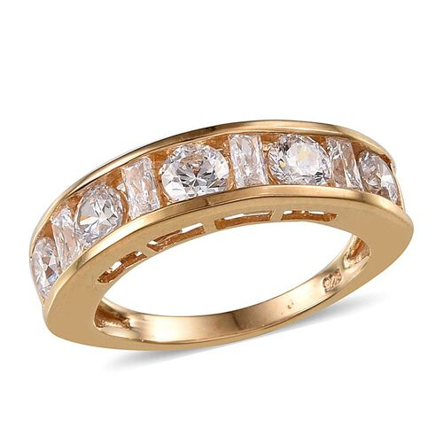 J Francis - 14K Gold Overlay Sterling Silver (Rnd) Half Eternity Band Ring Made with SWAROVSKI ZIRCONIA 1.690 Ct.
