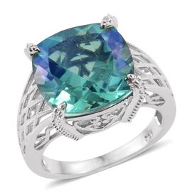 Peacock Quartz (Cush) Solitaire Ring in Platinum Overlay Sterling Silver 9.750 Ct.