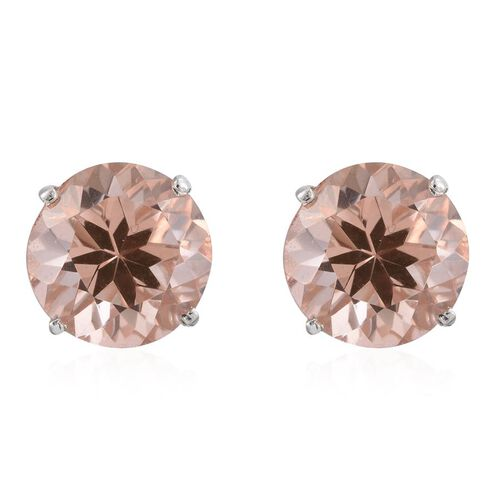 Galileia Blush Pink Quartz (Rnd) Stud Earrings (with Push Back) in Platinum Overlay Sterling Silver 14.000 Ct.