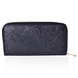 Black Colour Rose Embossed Long Size Wallet (Size 19.5x9.5x3 Cm)