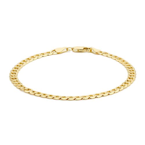 Close Out Deal 9K Yellow Gold Flat Curb Chain Bracelet (Size 7.5), Gold wt 5.06 Gms.