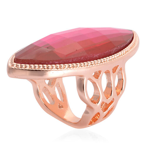 Rose Glass Ring in Rose Gold Tone