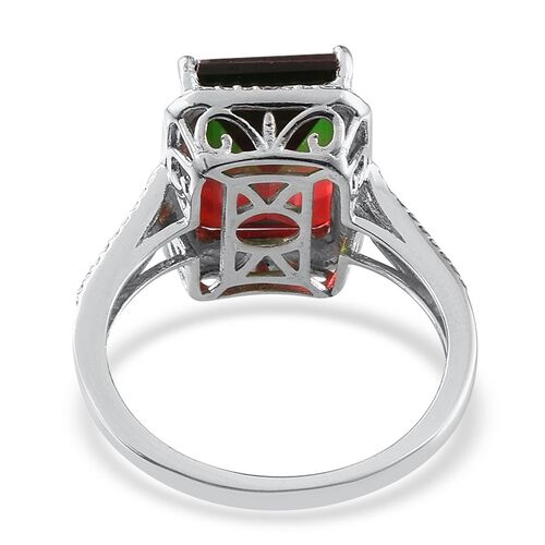 Tourmaline Colour Quartz (Oct 7.75 Ct), Diamond Ring in Platinum Overlay Sterling Silver 7.760 Ct.