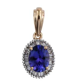 ILIANA 18K Y Gold AAA Tanzanite (Ovl 1.65 Ct), Diamond Pendant  1.850 Ct.