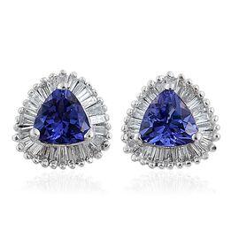 ILIANA 18K White Gold AAA Tanzanite (Trl), Diamond (SI G-H) Halo Stud Earrings (with Screw Back) 1.250 Ct.