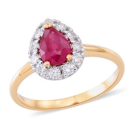 ILIANA 18K Y Gold AAA Burmese Ruby (Pear 0.82 Ct), Diamond (SI/G-H) Ring 1.150 Ct.