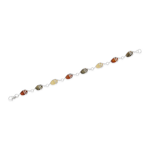 Baltic Multi Colour Amber (Ovl) Bracelet (Size 7.25) in Sterling Silver