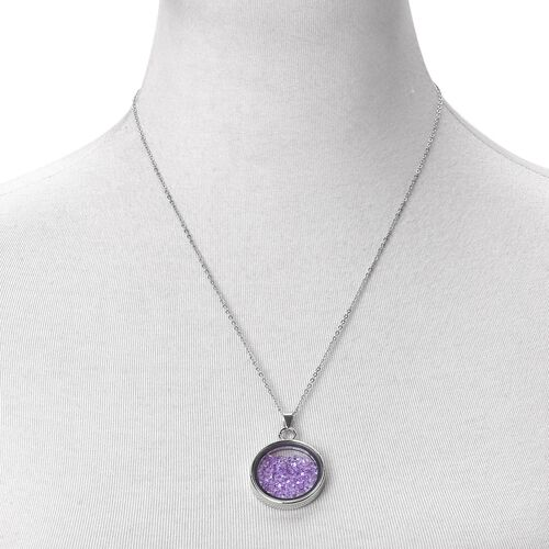 Simulated Purple Colour Diamond - Coin Shape Pendant With Chain (Size 24)