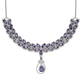 Tanzanite (Pear 0.65 Ct) Necklace (Size 18) in Platinum Overlay Sterling Silver 9.250 Ct.