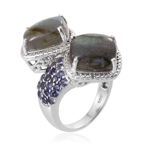 Labradorite (Cush), Iolite and Diamond Crossover Ring in Platinum Overlay Sterling Silver 15.260 Ct.