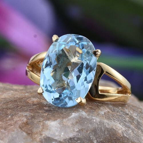 Electric Swiss Blue Topaz (Ovl) Solitaire Ring in 14K Gold Overlay Sterling Silver 6.750 Ct.
