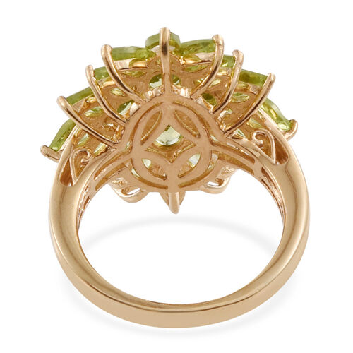 AA Hebei Peridot (Ovl) Cluster Ring in 14K Gold Overlay Sterling Silver 4.800 Ct.