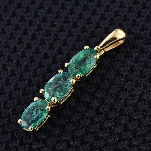Kagem Zambian Emerald (Ovl) Trilogy Pendant in 14K Gold Overlay Sterling Silver 0.750 Ct.
