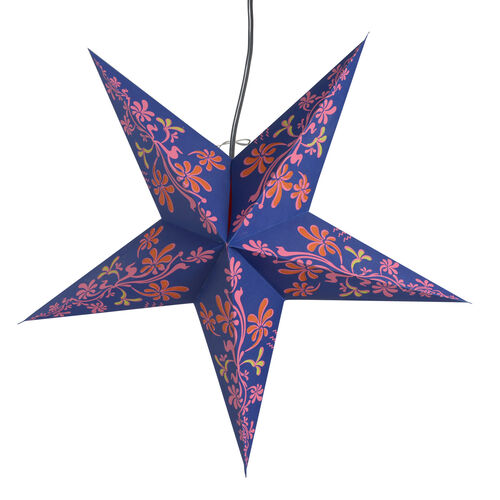 CHRISTMAS SPECIAL Home Decor - Floral Pattern Purple and Multi Colour Handmade Star with Electric Cable (Size 60 Cm)