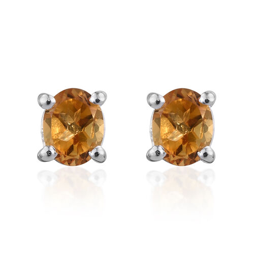 Set of 2 - Citrine (Trl and Ovl) Stud Earrings (with Push Back) in Sterling Silver 1.350 Ct.