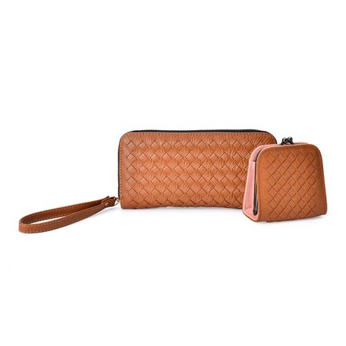 Celina Classic Tan Intrecciato Textured Wallet And Cardholder Set (Size 19x9x2.5 Cm and 9x8.5x4.5 Cm)