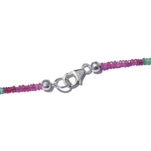 Royal Jaipur - Colours of Jaipur Emerald Ruby Blue Sapphire and Yellow Sapphire Necklace (Size 20) in Platinum Overlay Sterling Silver 31.280 Ct.