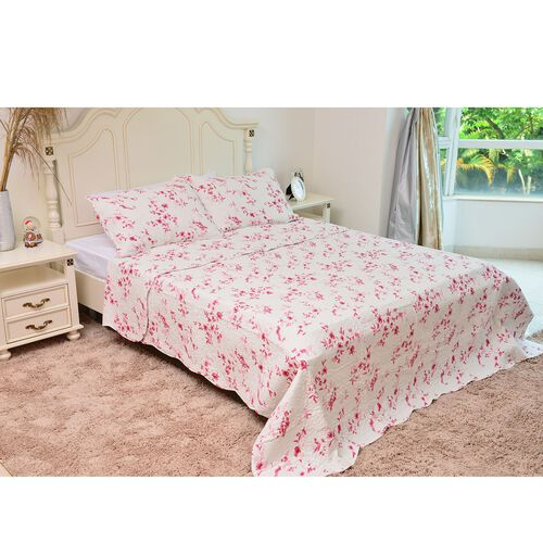 100% Cotton White and Pink Colour Floral and Leaves Printed Quilt (Size 250X220 Cm) with 2 Shams (Size 70X50 Cm)