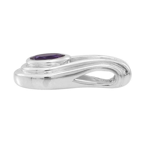 (Option 2) Amethyst (Rnd) Solitaire Pendant in Rhodium Plated Sterling Silver 1.250 Ct.
