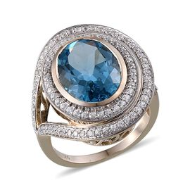 9K Y Gold Electric Swiss Blue Topaz (Ovl 10.50 Ct), Natural Cambodian Zircon Ring 11.500 Ct.