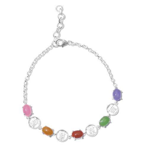 Designer Inspired- Green Jade (Ovl), Yellow Jade, Pink Jade, Purple Jade and Red Jade Bracelet (Size 7.5 with Half inch Extender) in Sterling Silver 5.000 Ct.