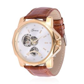 GENOA Automatic Skeleton White Dial Water Resistant Watch in ION Plated Yellow Gold with Stainless Steel Back and Chocolate Leather Strap