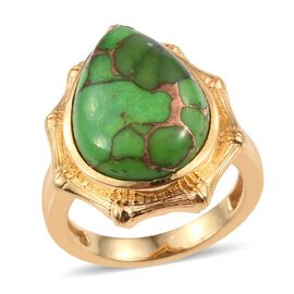 Mojave Green Turquoise (Pear) Ring in ION Plated 18K Yellow Gold Bond 10.500 Ct.