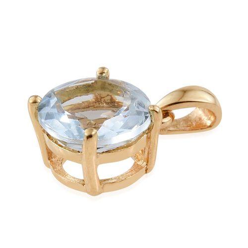 Aquamarine 1 Carat Silver Solitaire Pendant in Gold Overlay