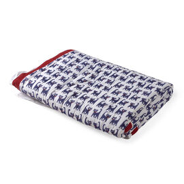 100% Cotton White, Red and Multi Colour Hand Block Cat Printed Quillow (Size 150x110 Cm)