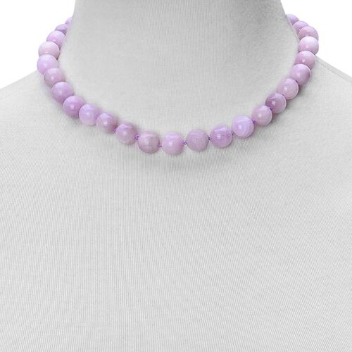 Rare Round 10 to 11 mm AAA Kunzite Necklace (Size 18) with Magnetic Clasp
