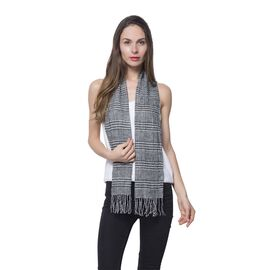 Dark Grey and White Colour Scarf (Size 150x30 Cm)