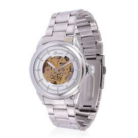 (Option 2) GENOA Automatic Skeleton Golden and White Dial Water Resistant Watch in Silver Tone with Stainless Steel Back and Chain Strap