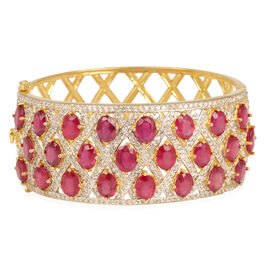 African Ruby (Ovl), White Topaz Bangle (Size 7.5) in 14K Gold Overlay Sterling Silver 50.000 Ct. Silver Weight 51 grms.