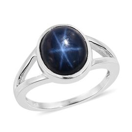 AAA Rare Size Star Blue Sapphire (Ovl) Solitaire Ring in Platinum Overlay Sterling Silver 5.750 Ct.