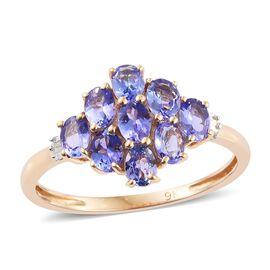 9K Y Gold Tanzanite (Ovl 1.45 Ct), Diamond Ring 1.500 Ct.