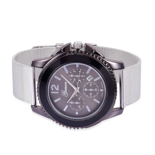GENOA Japanese Movement Black Dial Water Resistant Watch in Black Tone with Stainless Steel Back and Chain Strap