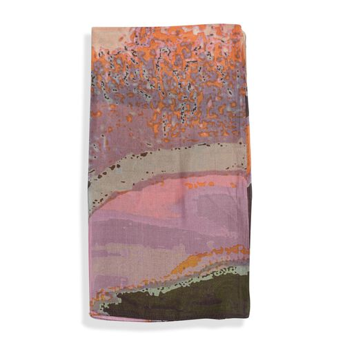 100% Mulberry Silk Orange, Chocolate and Multi Colour Abstract Pattern Pareo (Size 180X100 Cm)