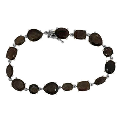Chocolate Sapphire (Pear) Bracelet in Rhodium Plated Sterling Silver (Size 7.5) 45.000 Ct.