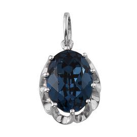 Crystal from Swarovski - Montana Crystal (Ovl) Solitaire Pendant in Platinum Overlay Sterling Silver 5.250 Ct.