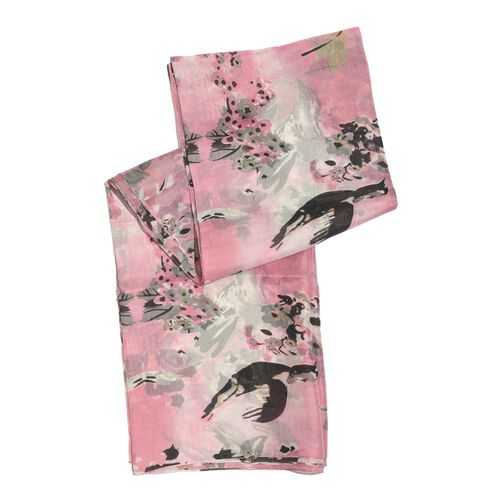 100% Mulberry Silk Pink and Multi Colour Birds Pattern Pareo (Size 180x100 Cm)