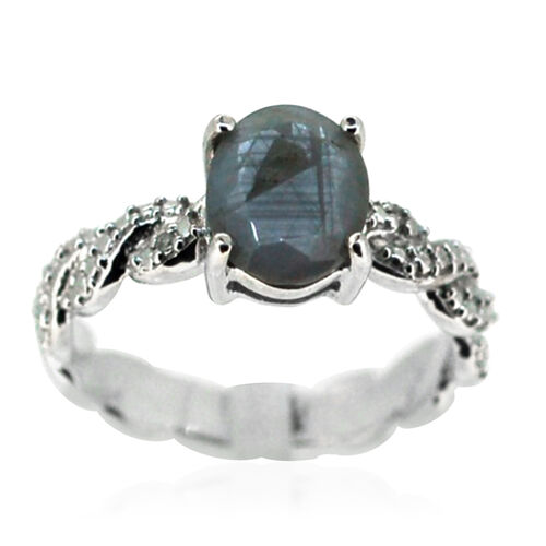 Natural Silver Sapphire (Ovl 3.50 Ct), Diamond Ring in Rhodium Plated Sterling Silver 3.510 Ct.