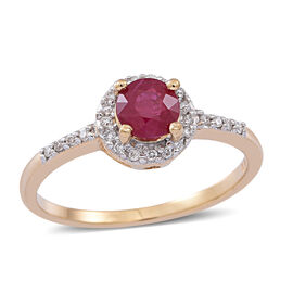 ILIANA 18K Y Gold Burmese Ruby (Rnd 0.85 Ct), Diamond Ring 1.000 Ct.