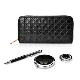 Set of 4 - Black Colour Ladies Purse, Simulated Black Diamond Filled Ball Pen (Black ink), White Austrian Crystal Studded Bag Hook and Compact Mirror