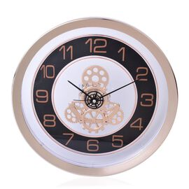Rose Gold and Black Colour Quiet Movement Transparent Decorative Wall Clock