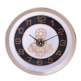 Rose Gold and Black Colour Quiet Movement Transparent Decorative Wall Clock
